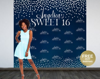 Sweet Sixteen Personalized Photo Backdrop -Navy Blue and Silver Photo Backdrop- 16th Birthday Photo Backdrop - Printed Birthday Backdrop