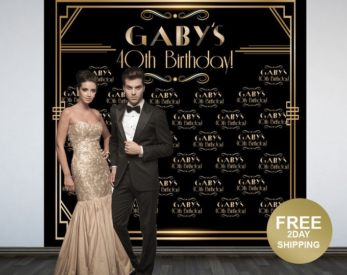 Featured listing image: Great Gatsby Backdrop | Art Deco Step & Repeat Backdrop | Birthday Backdrop | Roaring 20's Photo Backdrop | Printed Photo Backdrop