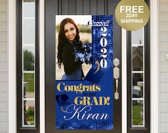 Quarantine Grad Door Banner | Honk for our Grad Banner | Graduation Door Banner | Class of 2020 Door Banner | Grad Photo Yard Banner | Blue