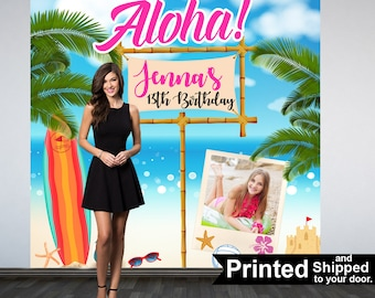 Pool Party Personalized Photo Backdrop -Summer Luau Photo Backdrop- Beach Scene Birthday Photo Backdrop - Custom Photo Booth Backdrop