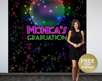 70's Disco Personalized Photo Backdrop, Disco Ball Photo Backdrop, Birthday Photo Backdrop- Graduation Backdrop, Printed Backdrop