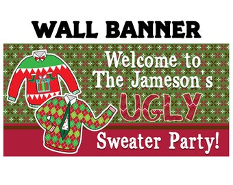 Ugly Sweater Party Photo Banner ~ Ugly Sweater Holiday Party Banner - Christmans Ugly Sweater Party Banner, Holiday Party Banner, Printed