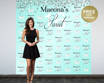 Sweet 16 Personalized Photo Backdrop | Diamonds and Bows Photo Backdrop | 16th Birthday Backdrop | Aqua Photo Backdrop | Birthday Backdrop