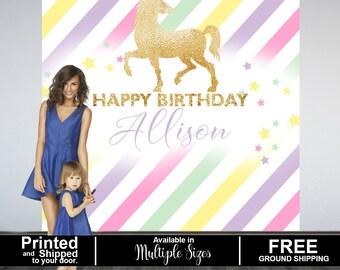 Sparkle Unicorn Personalized Photo Backdrop - Birthday Photo Backdrop- First Birthday Photo Backdrop - Unicorn Printed Photo Booth Backdrop