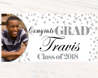 Class of 2018 Graduation Banner ~ Congrats Grad Personalized Banners -School Colors Graduation Banner, White and Silver Photo Grad Banner