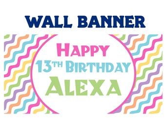 Happy 13th Birthday Banner  ~ Personalized Party Cool Waves Banners, Pastel Colors Chevron Banner, Custom Banners, Sweet 16 Banner