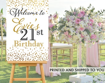 21st Birthday Welcome Sign - Birthday Sparkle Sign - Welcom Sign 30th Birthday, Foam Board Welcome Sign, 50th Birthday Welcome Sign, Printed