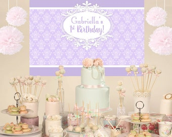First Birthday Vintage Personalized Party Backdrop - Birthday Cake Table Backdrop, Baby Shower Backdrop, Birthday Backdrop, Printed Backdrop