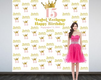 Birthday Princess Personalized Photo Backdrop, Royal Princess Photo Backdrop, Sweet 16 Birthday Photo Backdrop, Printed Photo Booth Backdrop