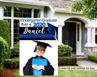 Class of 2020 Graduation Photo Yard Sign | Grad Party Welcome Sign | Congrats Grad | Blue Graduation Yard Sign | Kindergarten Grad Sign