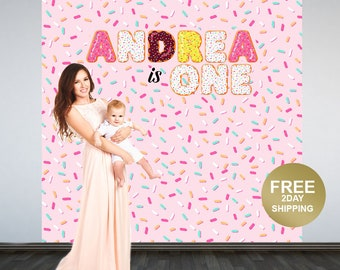 Cake Sprinkles Personalized Photo Backdrop -Donut Photo Backdrop- 1st Birthday Photo Backdrop - Printed Photo Booth Backdrop, Vinyl Backdrop