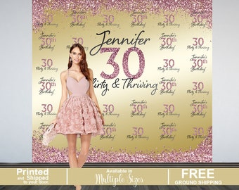 30th Birthday Personalized Photo Backdrop - Gold Photo Backdrop - Birthday Backdrop - Printed Photo Backdrop, Flirty & Thirty Photo Backdrop