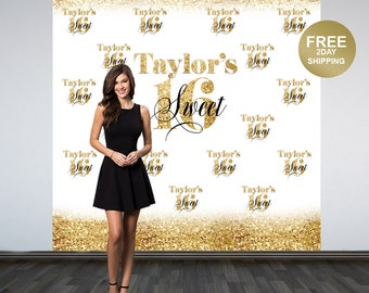 Sweet 16 Personalized Photo Backdrop | Gold Photo Backdrop | 16th Birthday Photo Backdrop | Photo Booth Backdrop | Birthday Backdrop