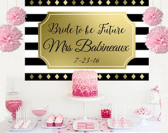 Future Mrs. Personalized Backdrop - Bridal Shower Cake Table Backdrop - Black and White Birthday Backdrop, Printed Backdrop, Bridal Shower