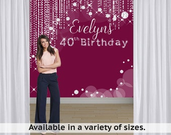 Diamond Sparkles Party Personalized Photo Backdrop -Birthday Photo Backdrop- 40th Birthday Photo Backdrop - Custom Backdrop, 30th Birthday