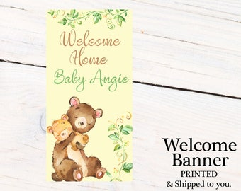 Welcome Home Baby Door Banner  ~ Personalized Baby Bear Party Banner, Mama Bear Welcome Banner, Welcome Home Baby Banner, Printed Banner