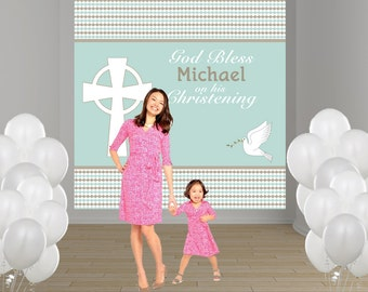 Baptism Photo Backdrop - Christening Photo Backdrop - Religious Photo Backdrop - First Communion Backdrop - Bautizo - Mi Primera Comunion