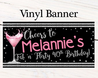 Cheers to 40th Photo Banner ~ Personalized Banner - Party Banners - 30th Birthday Banner, Cheers to Party Banner, Printed Banner