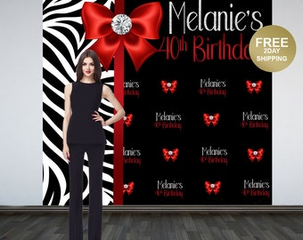 40th Birthday Photo Backdrop | Zebra Print Backdrop | 30th Birthday Photo Backdrop | Printed Photo Backdrop | Birthday Backdrop | Retirement