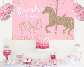 Carousel Horse Pink Personalized Party Backdrop - First Birthday Cake Table Backdrop, Baby Shower Backdrop- Birthday Backdrop, Printed