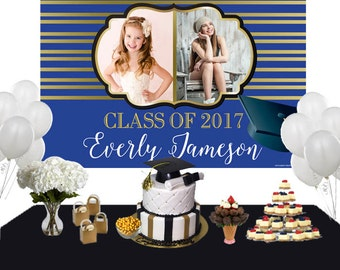 Graduation Then and Now Photo Backdrop, Congrats Grad Cake Table Backdrop - Class of 2019 Photo Backdrop, Graduation Backdrop, Printed