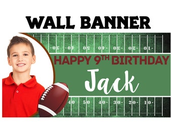 Football Birthday Party Banner ~ Personalized Party Banners - Photo Sports Banner, Photo Banner, Printed Vinyl Banner - Birthday Banner