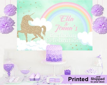 Unicorn Glitter Personalized Party Backdrop, First Birthday Backdrop, Baby Shower Backdrop, Unicorn Photo Backdrop, Birthday Backdrop