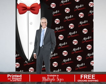 70th Birthday Personalized Photo Backdrop - Classic Man Photo Backdrop - 60th Birthday Photo Backdrop - Birthday Backdrop, Step and Repeat