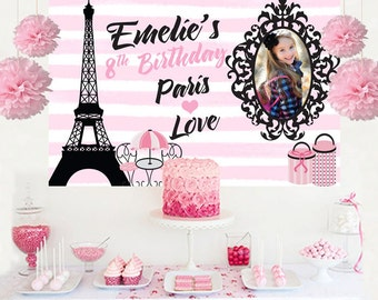 Paris Love Personalized Photo Backdrop - Birthday Cake Table Backdrop - Eiffel Tower Backdrop, Paris Party Backdrop, Birthday Backdrop