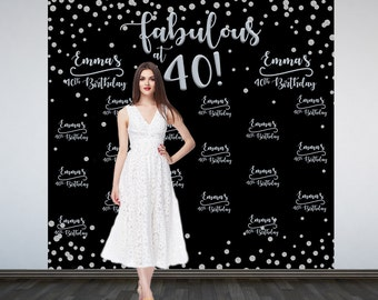 Fabulous 40 Personalized Photo Backdrop | Silver Sparkle Photo Booth Backdrop | Birthday Party Backdrop | 40th Birthday Backdrop | Printed