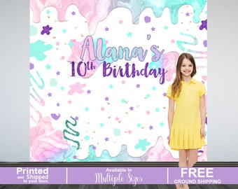 Slime Personalized Photo Backdrop - Slime Photo Backdrop- 10th Birthday Photo Backdrop - Printed Photo Booth Backdrop, Birhday Backdrop