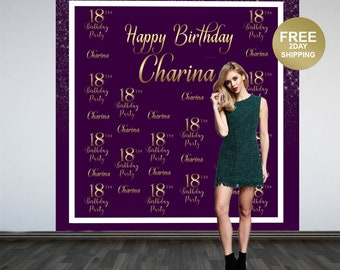 18th Birthday Photo Backdrop | Birthday Backdrop | 21st Birthday Backdrop | Printed Photo Booth Backdrop | Custom Backdrop | Plum and Gold