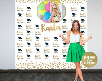Congrats Grad Personalized Photo Backdrop | Step & Repeat Photo Backdrop | Class of 2019 Photo Backdrop | Graduation Photo Backdrop