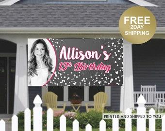 Birthday Banner | 13th Birthday Banner | Personalized Birthday Banner | Birthday Yard Banner | Birthday Lawn Banner | Photo Birthday Banner