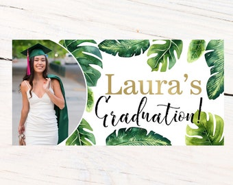 Graduation Photo Banner | Congrats Grad Personalized Party Banners | Tropical Graduation Banner | Class of 2019 Banner |  Printed Banner
