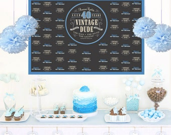 Vintage Dude Personalized Backdrop, Birthday Cake Table Backdrop, 40th Birthday Backdrop, Custom Backdrop, Photo Backdrop, Printed Backdrop