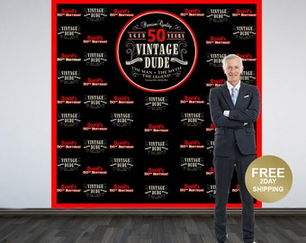 Vintage Dude Photo Backdrop | Milestone Photo Backdrop | 50th Birthday Photo Backdrop | Step and Repeat Backdrop | Vintage Dude Red
