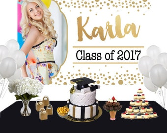 Graduation Sparkle Photo Personalized Backdrop - Congrats Grad Cake Table Backdrop, Class of 2019 Photo Backdrop, Graduation Backdrop
