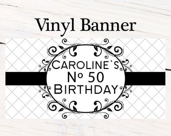 Classic Black & White Banner  ~ 50th Birthday Personalize Party Banners- Milestone Large Photo Banner