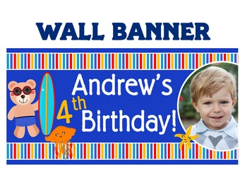 Summer Swim Happy Birthday Banner ~ Personalized Ocean Friends Photo Party Banners, Kids Birthday Banner, Pool Party Printed Banner