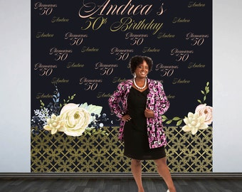 Gold and Glam Party Personalized Photo Backdrop -Gold & Black 50th Photo Backdrop- 40th Birthday Party Photo Backdrop, Printed Backdrop