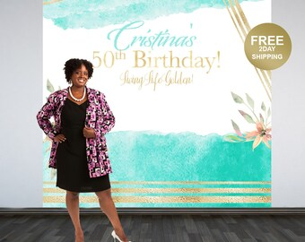 50th Birthday Photo Backdrop | Watercolor Floral Personalized Photo Backdrop | Living Life Golden Backdrop | Custom Photo Backdrop | Printed