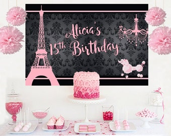 Paris Dream Personalized Backdrop - Birthday Cake Table Backdrop, Eiffel Backdrop, Paris Birthday Backdrop, Printed Backdrop, Photo Backdrop