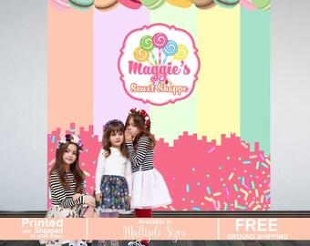 Sweet Shoppe Personalized Photo Backdrop - Candy Sprinkles Party Photo Backdrop- Printed Photo Backdrop - Birthday Backdrop, Cookie Backdrop