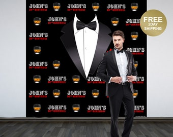 Gentleman Photo Backdrop | Whiskey Man Photo Backdrop | 50th Birthday Photo Backdrop | Printed Photo Backdrop, Tuxedo Backdrop | Classic Man