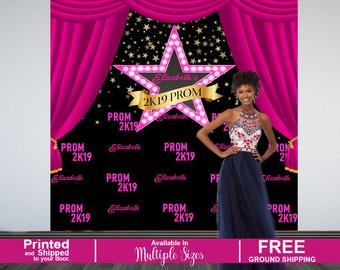 Prom Send Off Personalized Photo Backdrop, Prom 2K19 Photo Backdrop, Hollywood Star Photo Backdrop, Photo Booth Backdrop, Printed Backdrop