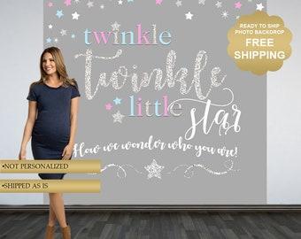Twinkle Twinkle Little Star Photo Backdrop, Printed Backdrop, Vinyl Backdrop, Ready to Ship Backdrop, Baby Shower Backdrop - Gender Neutral