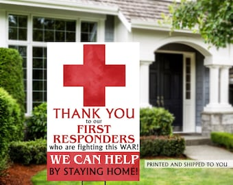 Thank You Yard Sign | Quarantine Yard Sign | Thank you First Responders Yard Sign | Stay Home Lawn Sign | Healthcare Thank You Sign