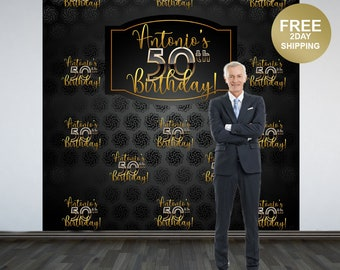 50th Birthday Photo Backdrop | 40th Birthday Photo Backdrop | Birthday Photo Backdrop | Step and Repeat Backdrop | Gold and Black Backdrop