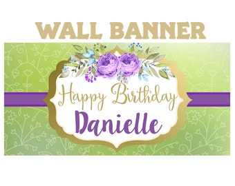 Boho Love Birthday Banner ~ 16th Birthday Personalize Party Banners -Purple Flowers Large Photo Banners, Birthday Banner